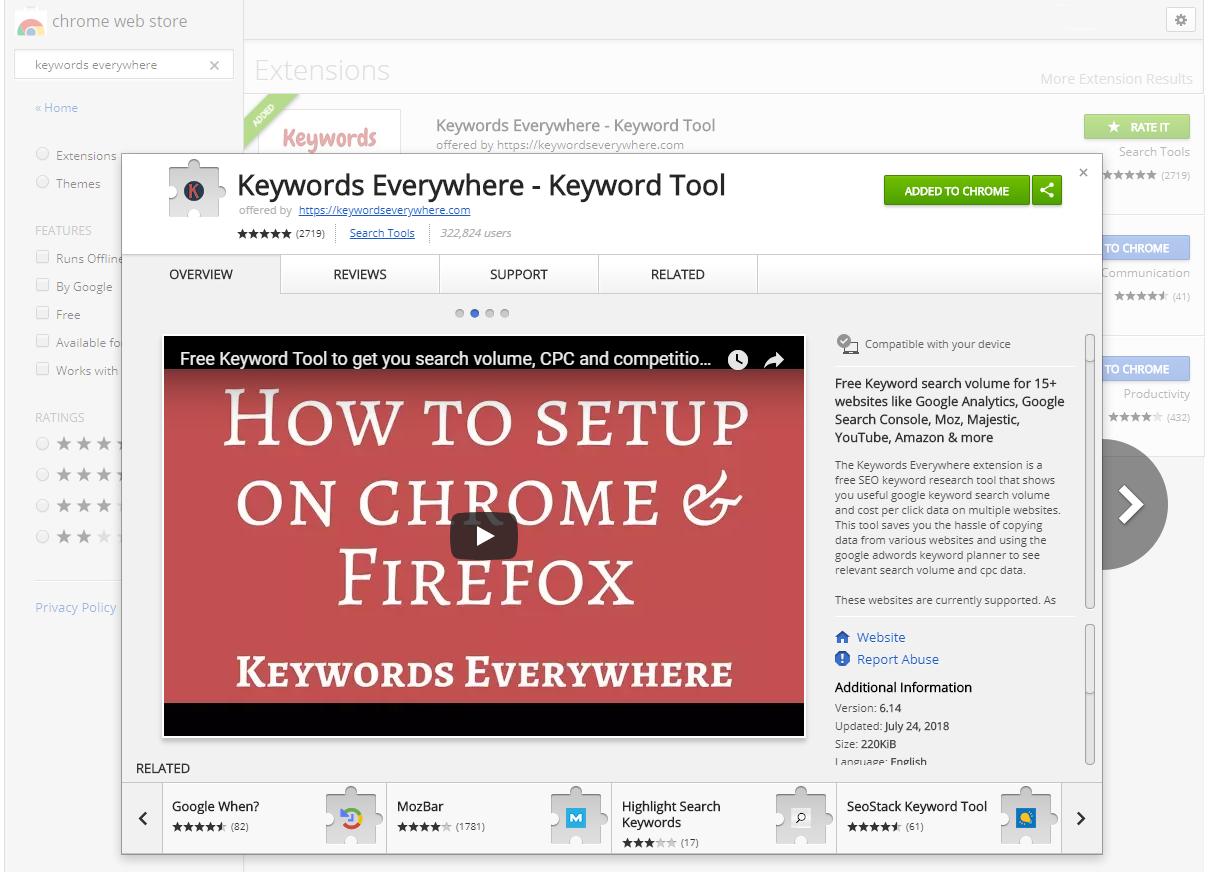 Find Niche Ideas - Step 5 - Keywords Everywhere Keyword Tool