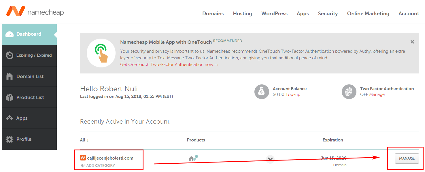 Hosting & Website With WordPress - Namecheap Manage Domain