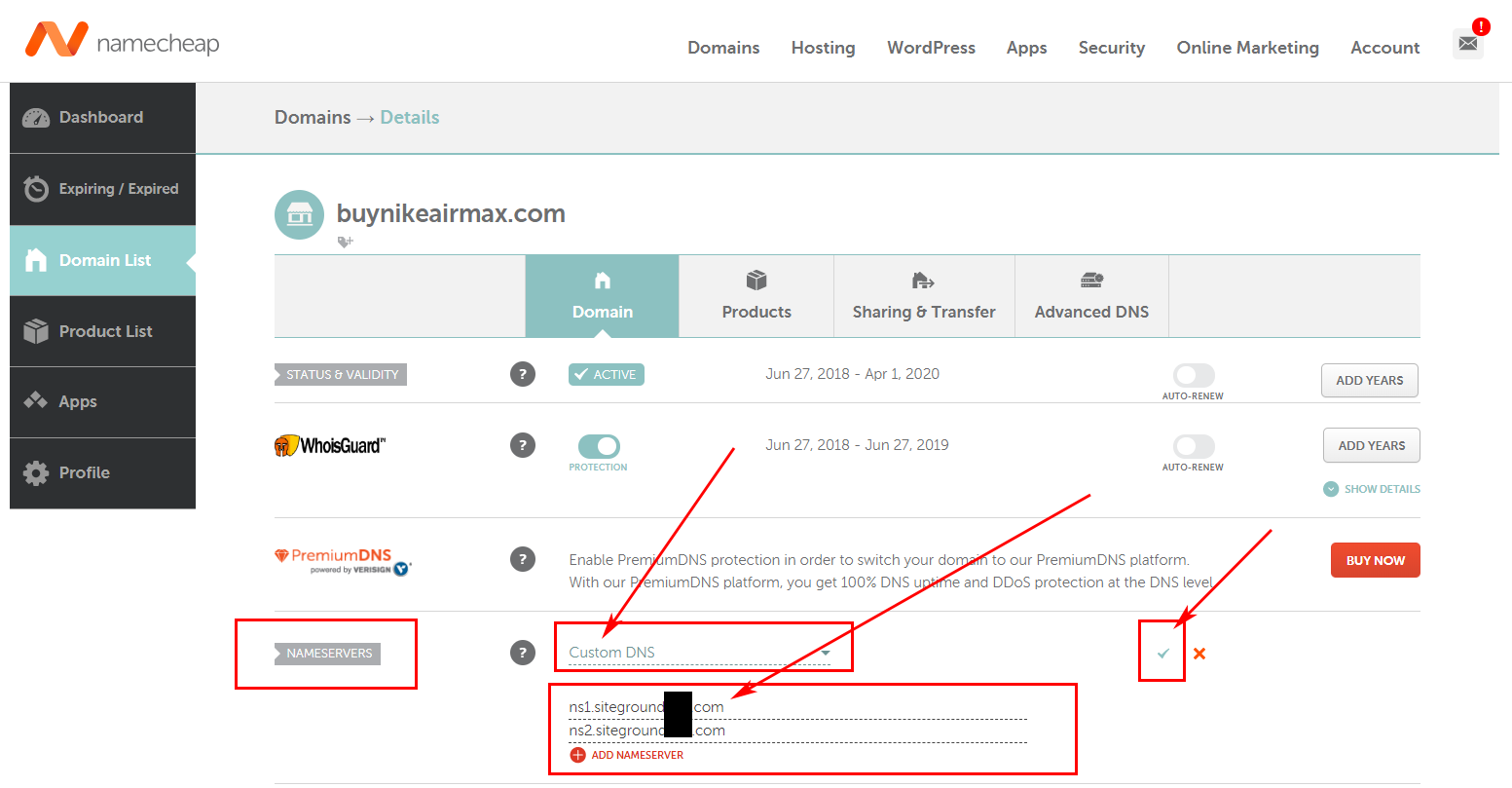 Hosting & Website With WordPress - Namecheap NAMESERVERS