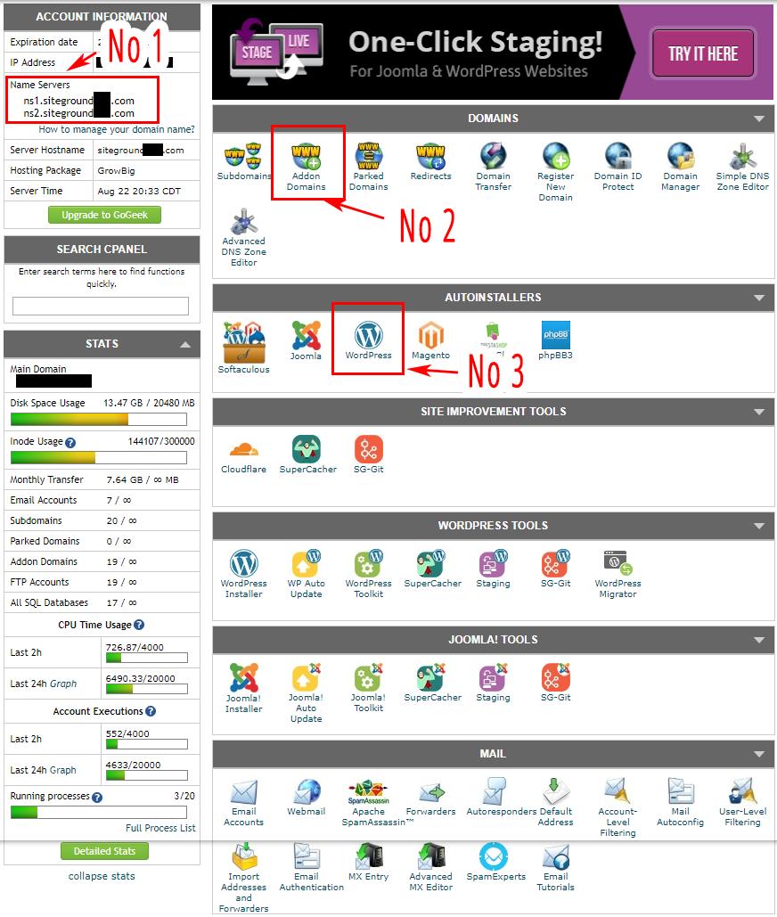 Hosting & Website With WordPress - Siteground cPanel