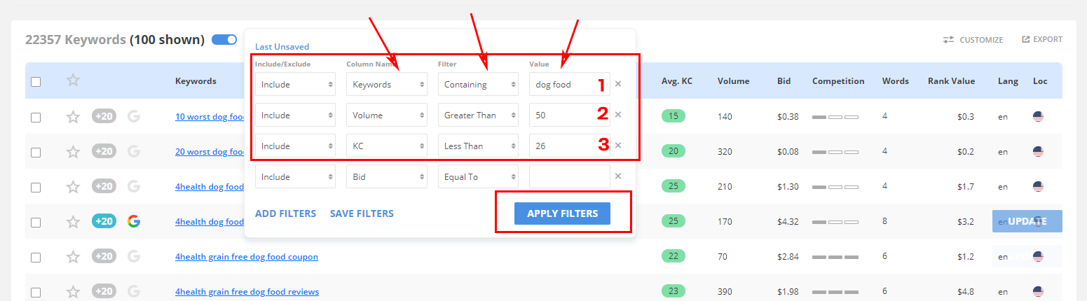 Keyword Research - Long Tail Pro Filter Option Settings
