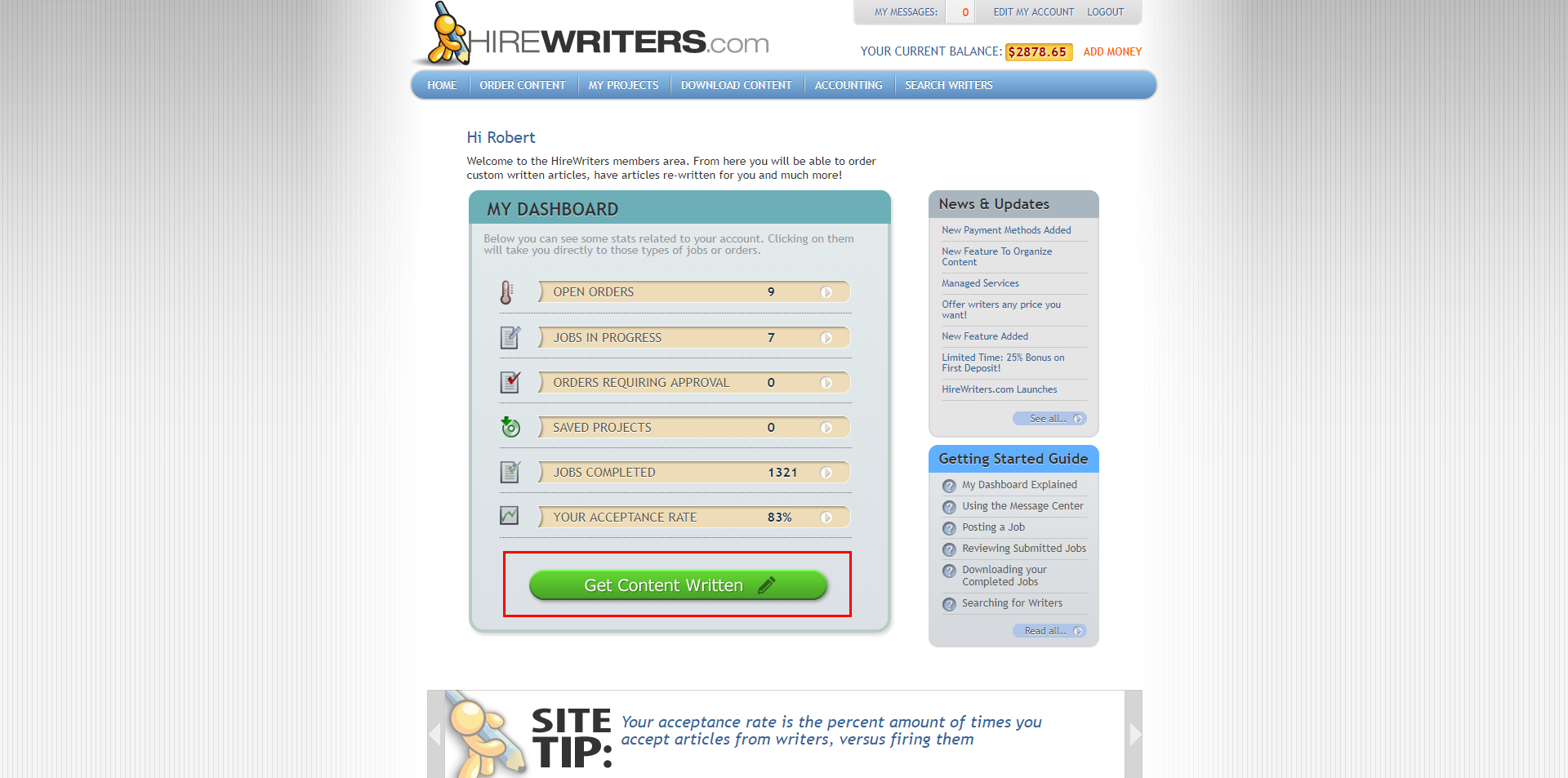 Write or Buy Content - Hire Writers Dashboard