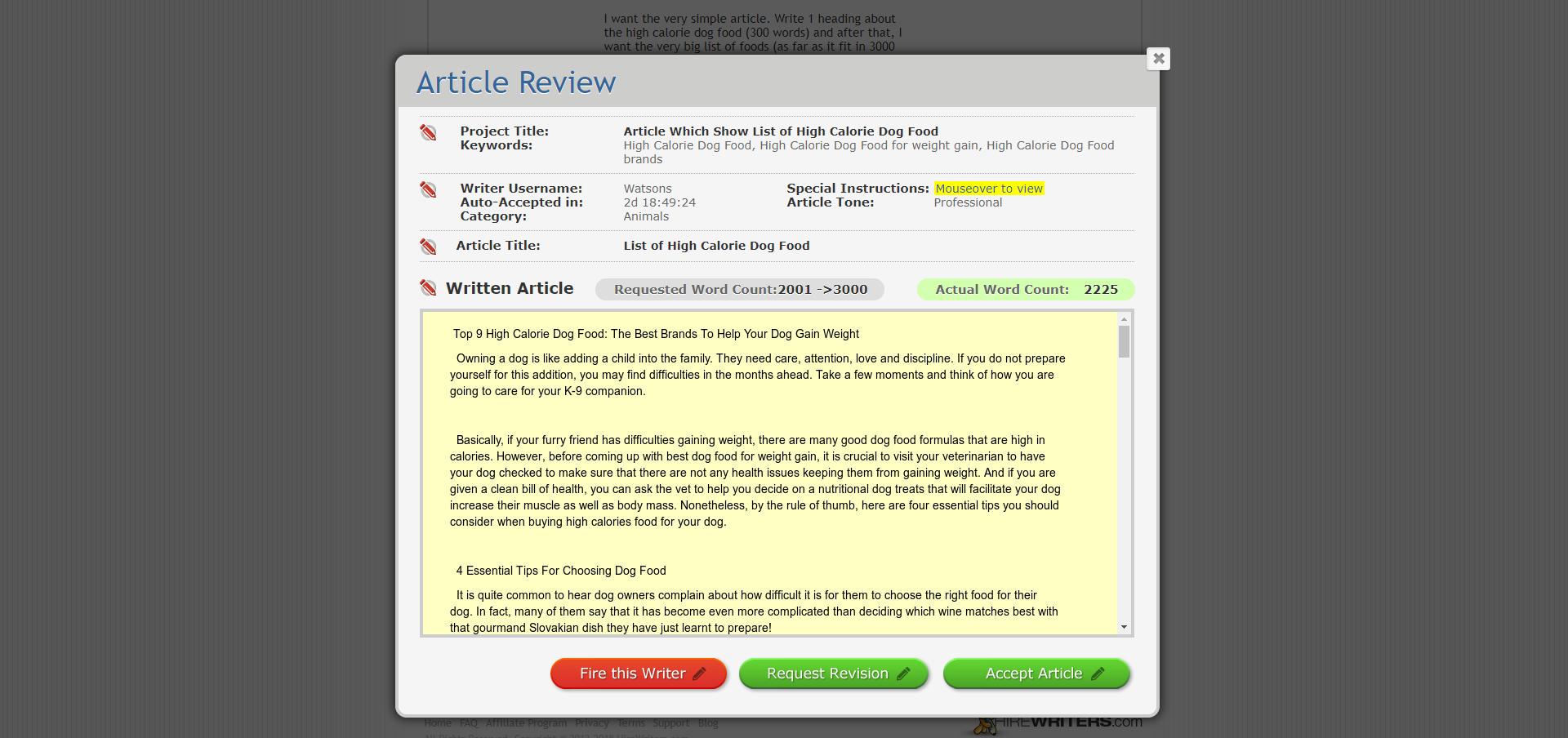 Write or Buy Content - Hire Writers, Fire this Writer, Request Revision, Accept Article
