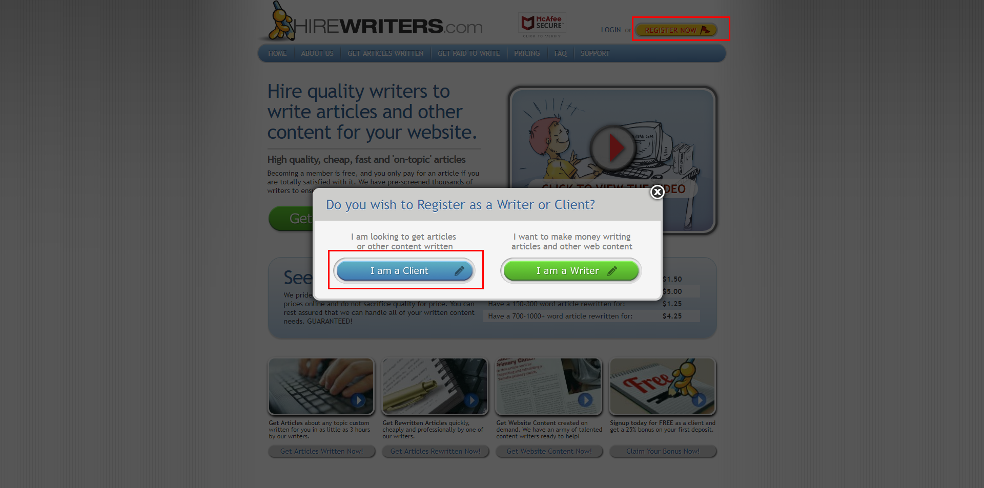Write or Buy Content - Hire Writers Register